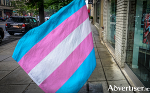 The Trans Pride flag. Blue represents men; pink represents women; and white is for non-binary and intersex people, and for those who are transitioning.