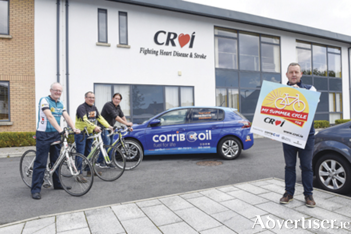 Pictured at the launch of 'My Summer Cycle for Croí' at Croí House, Galway, from left Dr Jim Crowley (Medical Director Croí); Bernard Dempsey (Corrib Oil Tuam) Alan Connolly (Westside Bikes) and Paul Burke (Corrib Oil Tuam) Photo: Boyd Challenger