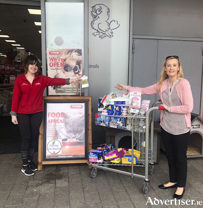 A sucessful food appeal set up by Petmania helped support Galway Cat Rescue during Covid-19 lockdown.