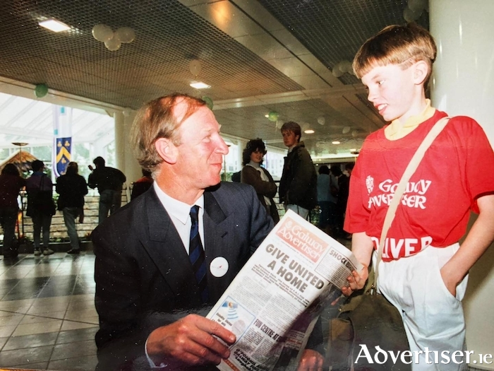 Big Jack pictured with young Brian Cahill at the opening of the Eyre Square Centre in 1991.