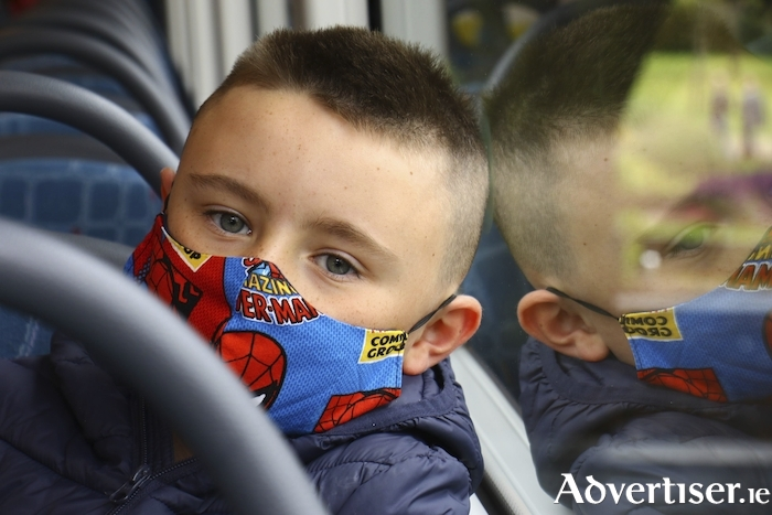 Stephen Sutton Ballinfoyle wears his mask on teh Bus Eireann 407 as he mandatory wearing of masks on public transport came into law on Monday with all users of public obliged to wear a mask. Photo:- Mike Shaughnessy