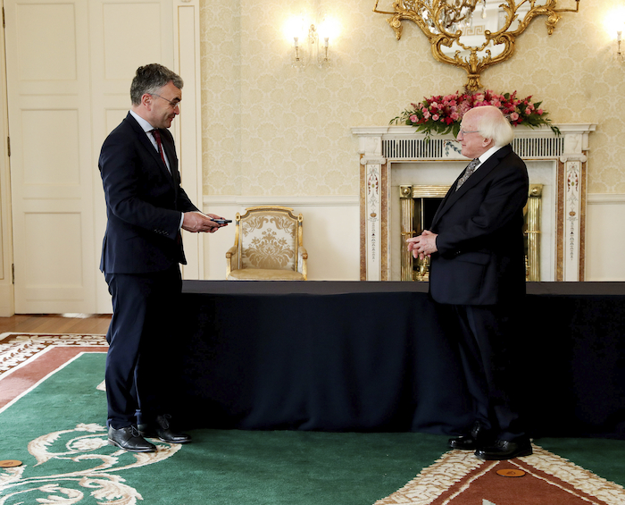 Seal of approval: Dara Calleary TD, newly appointed Minister for Agriculture, Food and the Marine receiving his seal of office and President Michael D. Higgins at Áras an Uachtaráin. Photo: MAXWELLS