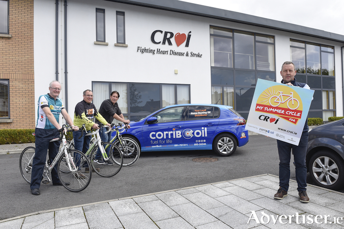 Pictured at the launch of 'My Summer Cycle for Croí' at Croí House, Galway, from left Dr Jim Crowley (Medical Director Croí); Bernard Dempsey (Corrib Oil Tuam) Alan Connolly (Westside Bikes) and Paul Burke (Corrib Oil Tuam) Photo: Boyd Challenger.
