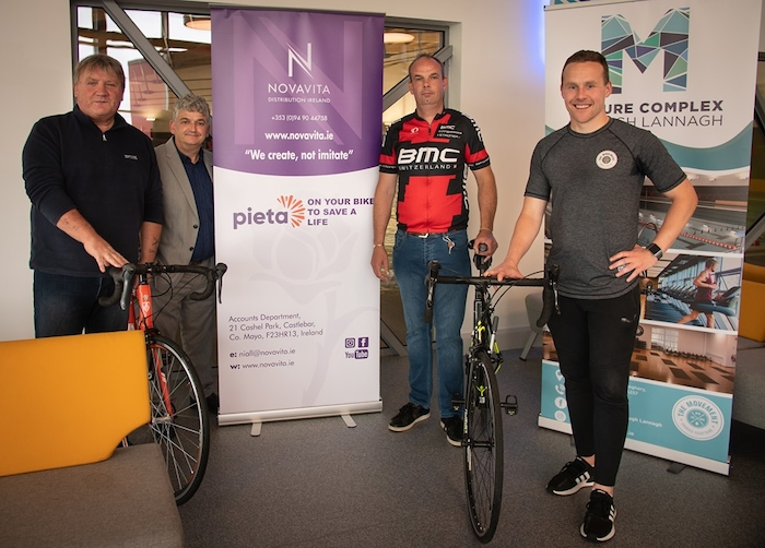 Ready to hit the road: Johnny Oosten (Event Organiser) Niall Murphy ( NovaVita Distribution Ireland), Patrick McGowan (cyclist) and Andy Moran (The Movement Gym and Lough Lannagh Leisure Centre) at the launch of the Wild Atlantic Way charity cycle.
