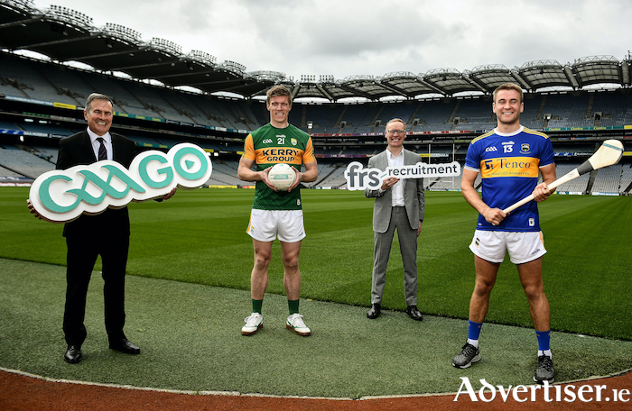 9 July 2020; In attendance, from left are, Commercial Director of the GAA and Croke Park Stadium Director Peter McKenna, Kerry footballer Tommy Walsh, General Manager of FRS Colin Donnery and Tipperary hurler John McGrath as FRS announce GAAGO Sponsorship at Croke Park in Dublin. Photo by David Fitzgerald/Sportsfile