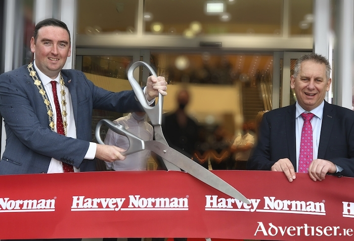 At the opening of the Harvey Norman Store in Gateway Retail Park in Knocknarra on Wednesday were Mayor Mike Cubbard and Harvey Norman Ireland CEO Peter Hearn. Photo:- Mike Shaughnessy