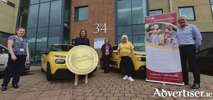 Left-right Deirdre Doyle-Account Manager Myhomecare,  Sammy Myles- Quality & Compliance Lead, Molly McHugh-Client Care Manager, Loretta O'Malley- Carer with Myhomecare, Declan Murphy-CEO.