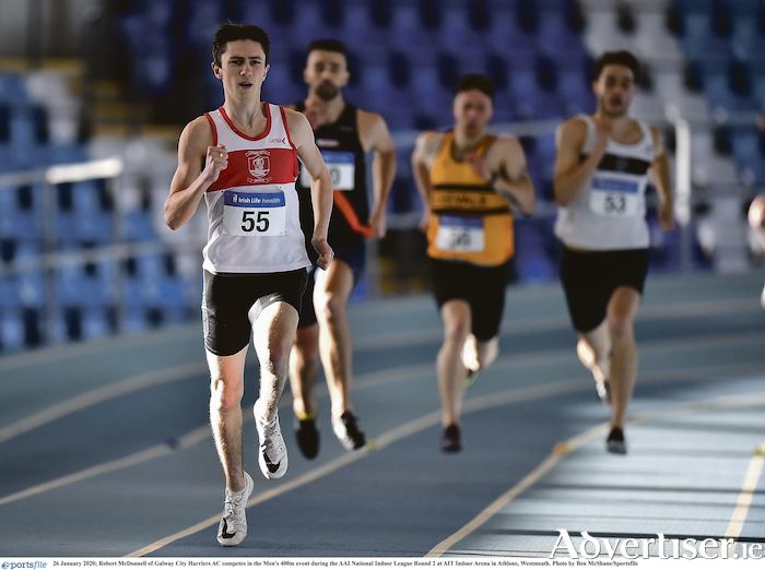 Robert McDonnell of Galway City Harriers AC competing at the AAI National Indoor League earlier this year, continued his good form at the Moyne AC track and field meet last weekend.  Photo: Ben McShane/Sportsfile