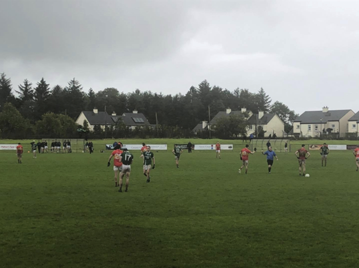 Wet and windy: Castlebar edged out Charlestown on Saturday evening. Photo: Charlestown GAA
