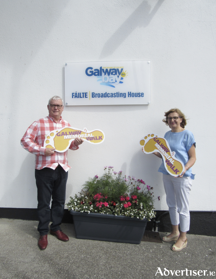 Mary Nash, Galway Hospice chief executive (right) with Keith Finnegan, Galway Bay FM, pictured ahead of this year's 'virtual' Galway Memorial Walk.