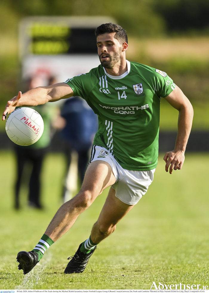 Eyes on the ball and the prize: The Neale's Aidan O'Sullivan will be looking to help his side into the last eight of the Mayo GAA Senior Football Championship. Photo: Sportsfile.
