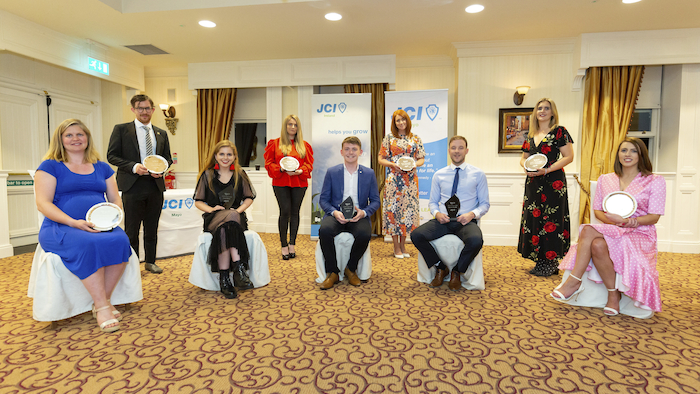Outstanding young people: The winners of JCI Mayo's TOYP awards. (Back left to right) Nigel O'Reilly, Tara Rafter, Anne-Marie Flynn, Sharon McNamera. (Front left to right) Joan Mulloy, Laura Beston, Aaron Hannon, Padraic Rocliffe, Helen Gavin (missing from photo Dr. Norah Patten). Photo:  James Osborne