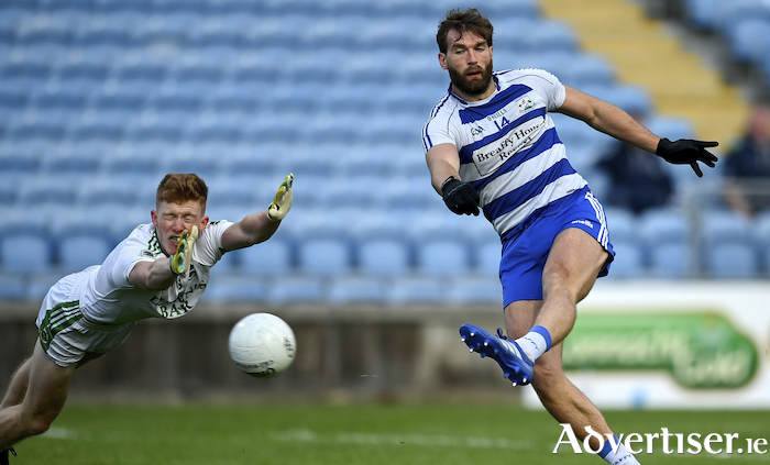 Back of the net: Aidan O'Shea scores Breaffy's first goal. Photo: Sportsfile
