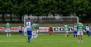 Back of the net: Brendan Lavelle scored five goals for Ballina Town last weekend. Photo: Castlebar Celtic