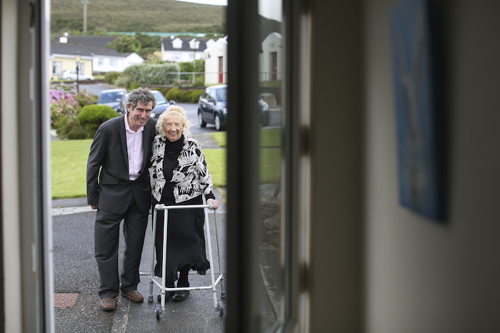 Pictured is Dr Jerry Cowley with Mary Caffrey one of the residents of St. Brendan's Village,Mulranny. It received funding from the National Lottery Good Causes fund.