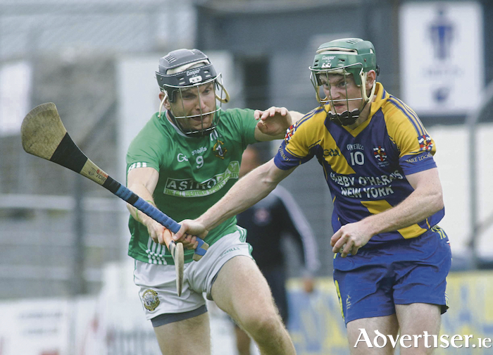 Liam Mellows Jack Forde and Loughrea's Brian Keary in action from the Galway Senior Club Hurling quater final game at Kenny Park, Athenry on Sunday.Photo:- Mike Shaughnessy