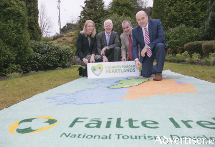 Sharon Lavin, Waterwqays Ireland, Paul Kelly, CEO Failte Ireland, Eanna Rowe, Waterways Ireland and Minister Denis Naughton at the Failte Ireland launch of Ireland's Hidden Heartlands. 