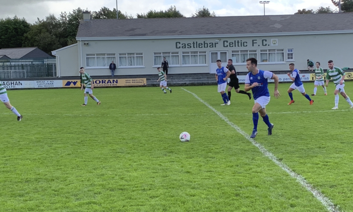 On the break: Enda McGahon looks to get Manulla moving against Castlebar Celtic