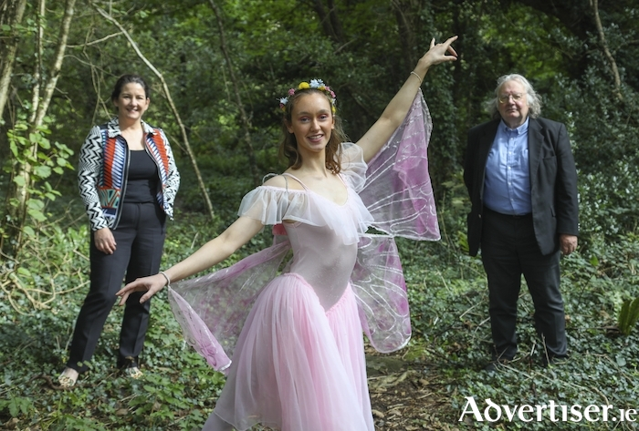 Aisling Connaughton of Youth Ballet West prepares for Culture Night 2020 with Galway County Arts Officer, Sharon O'Grady, and City Arts Officer, James Harrold, ahead of Friday September 18. For details visit CultureNight.ie Photo:- Aengus McMahon