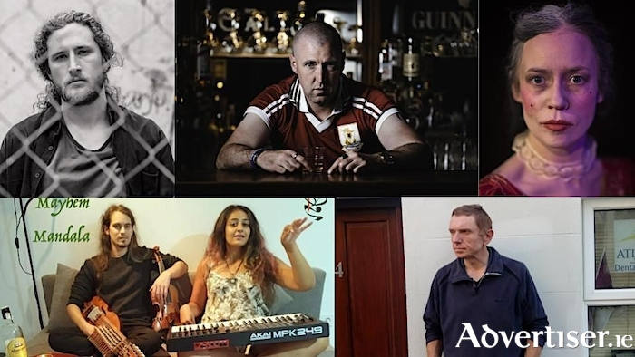 Fringe fest artists (clockwise from left): Singer-songwriter Shane K Lester; Andrew Carney in Sam, Galway, and the Twelve Apostles; Eve O'Mahony in The Cute Whore - The Life and Times of Peg Plunkett; writer Jim Ward; and Mayhem Mandala.