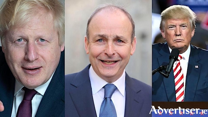"""Clowns to the left of me, jokers to the right, here I am, stuck in the middle with you."" British PM Boris Johnson; An Taoiseach Micheál Martin; and US President, Donal Trump."
