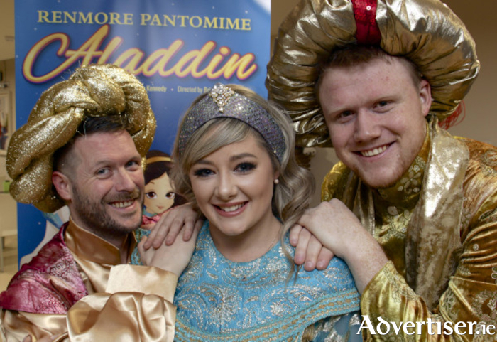 Declan J Gardiner, Jenny Flaherty and Nathan Mannion, stars of Aladdin, a recent Renmore panto. Photo:-Mike Shaughnessy