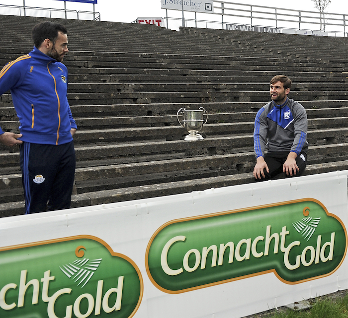 See you Sunday: Knockmore's Kevin McLoughlin and Breaffy's Aidan O'Shea will be squaring off on Sunday in the Mayo Senior Football Championship Final. Photo: Conor McKeown.