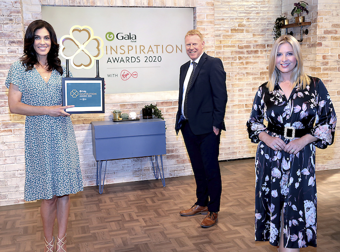Virgin Media presenters Glenda Gilson and Laura Woods with Gary Desmond, CEO, Gala Retail at the launch of the Inspiration Awards 2020