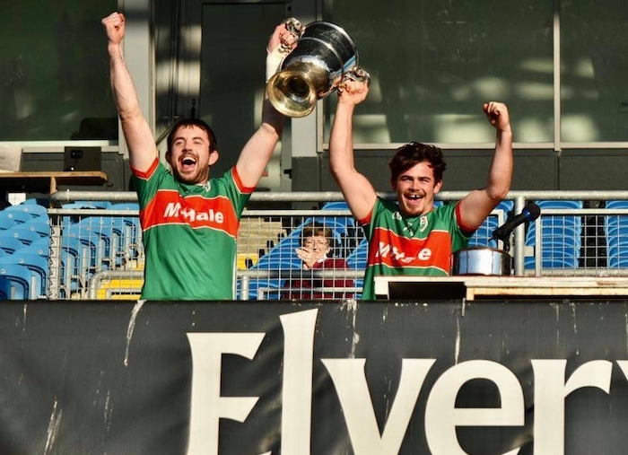 Up with the cup: Kilmaine claimed the Mayo GAA JFC title with a one point win over Kilmeena. Photo: Mayo GAA