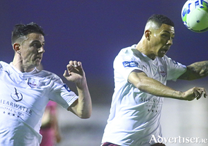 Goal scorer Enda Curran and Mikey Place go on the attack against Wexford FC in action from the SSE Airtricity first division game at Eamonn Deacy Park on Friday night.
