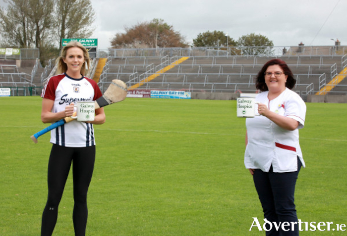 Sarah Dervan, Galway Camogie Captain, and Trish Burke, Galway Hospice, supporting Hospice Coffee Morning Together with Bewley's. Photo: Seán Lydon.