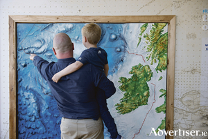 Hugo Johnston and his father Graham Johnston from the Marine Institute exploring Sea Science - the Wild Atlantic at Galway City Museum in 2017. Sea Science - the Wild Atlantic is a free exhibition and is a partnership between the Marine Institute and Galway City Museum. Photo: Andrew Downes, xposure.