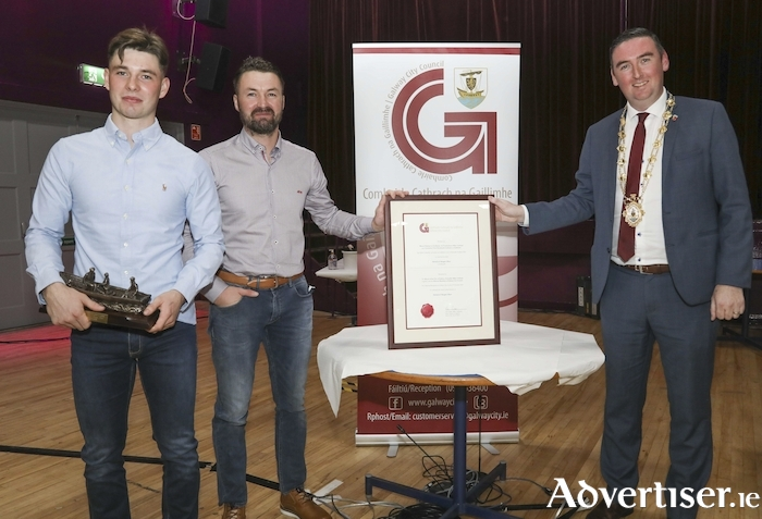 The heroic achievements of Patrick and Morgan Oliver were celebrated at a socially distanced Mayoral reception in Leisureland hosted by Mayor of Galway City, Mike Cubbard. Photo:- Aengus McMahon