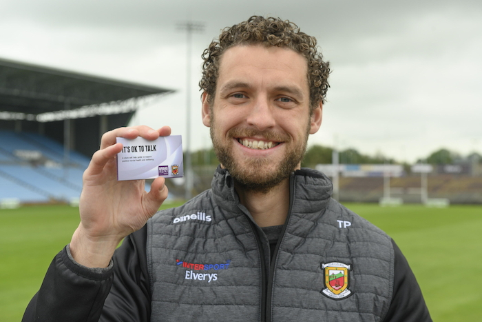 Mayo footballer Tom Parsons is pictured at the launch of a positive mental health and well-being initiative that is being promoted by Mindspace Mayo and Mayo GAA. The initiative will see pocket-sized cards with tips and advice for positive mental health distributed around Mayo. Mindspace is a charity partner of Mayo GAA. Photo: Michael McLaughlin