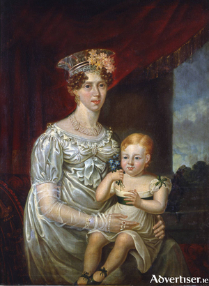 Mary O'Connell and her son Daniel, in elegant formal clothes, painted by the renowned Irish portrait artist John Gubbins. The painting hangs at Derrynane House.