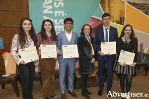 Coláiste Éinde past pupils who were recipients of 2019/20 Excellence Scholarships to NUI Galway pictured at the awards ceremony held at NUIG with Coláiste Éinde principal, Deirbhle Quinn. From left: Aisling Walsh, Lilymay Healy, Diego Brule, Deirbhle Quinn, Romain Gadioux, and Juliette O'Donnell.