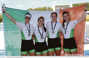 Ireland rowers, from left, Galway's Aifric Keogh and Fiona Murtagh with Eimear Lambe and Aileen Crowley celebrate with their medals after winning bronze in the Women's Four W4- A final at the 2020 European Rowing Championships in Poznan, Poland. Photo: Jakub Piaseki/Sportsfile