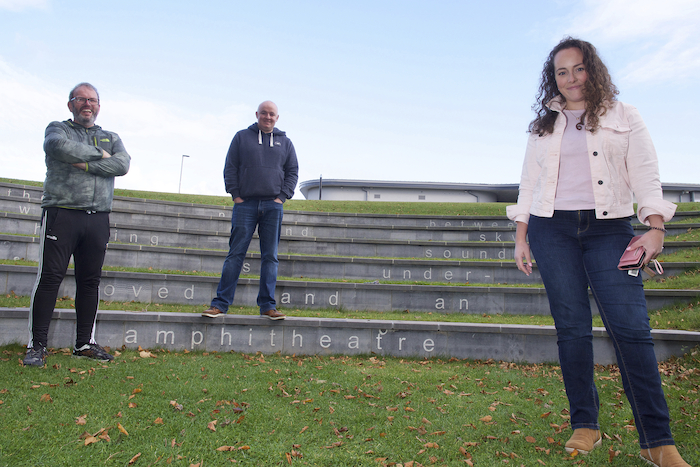 Michael Gallagher,  Derry O'Sullivan and Eunice Moran, launched their 'Walk For Life' project in Castlebar and explained that they aim to walk through the five Connacht counties over a week in December, but also revealed they have a back-up plan if Covid restrictions remain in place. Photo: Alison Laredo