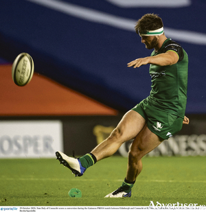 Tom Daly added kicking to his repertoire, in Connacht win over Edinburgh. Photo: Paul Devlin/Sportsfile