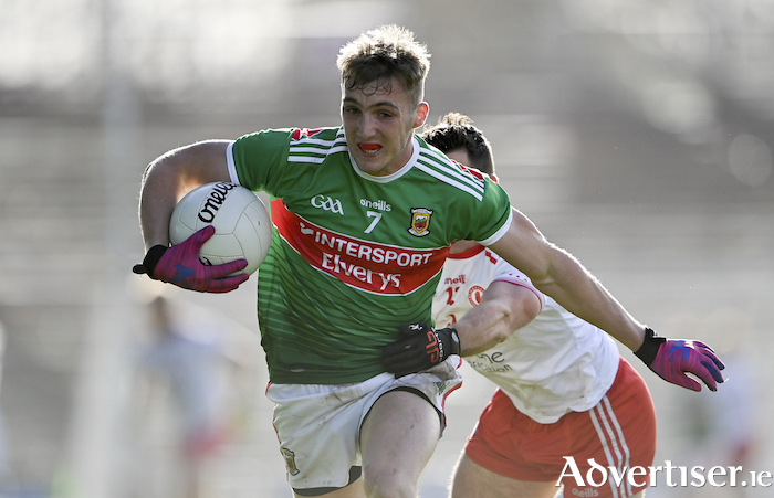 On the break: Eoghan McLoughlin on the break for Mayo last weekend against Tyrone. Photo: Sportsfile