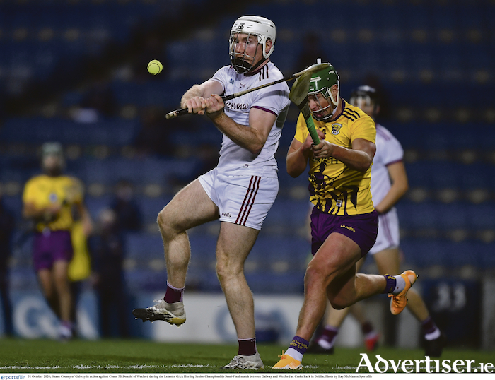 Shane Cooney of Galway in action against Conor McDonald of Wexford during the Leinster GAA Hurling Senior Championship semi-final at Croke Park in Dublin. Photo by Ray McManus/Sportsfile