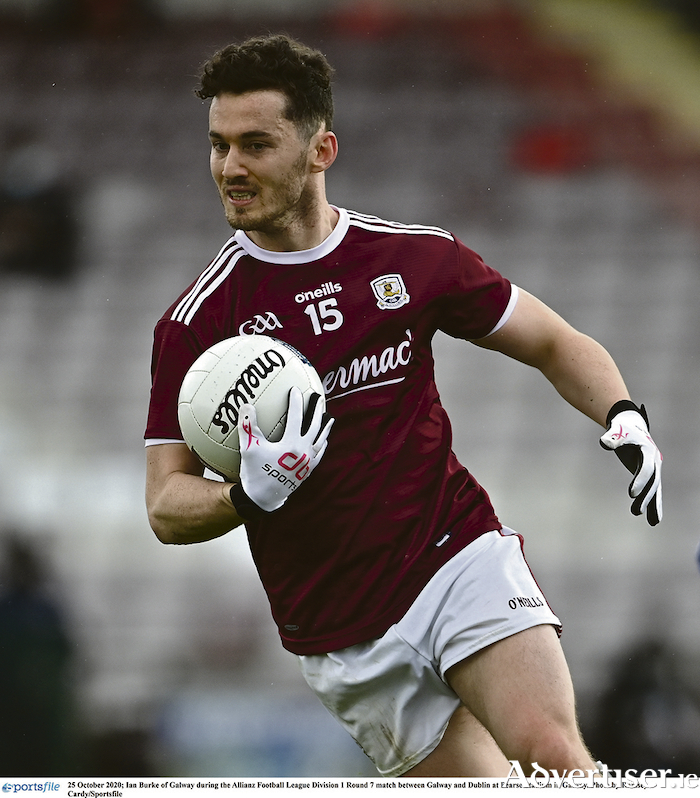 25 October 2020; Ian Burke of Galway during the Allianz Football League Division 1 Round 7 match between Galway and Dublin at Pearse Stadium in Galway. Photo by Ramsey Cardy/Sportsfile