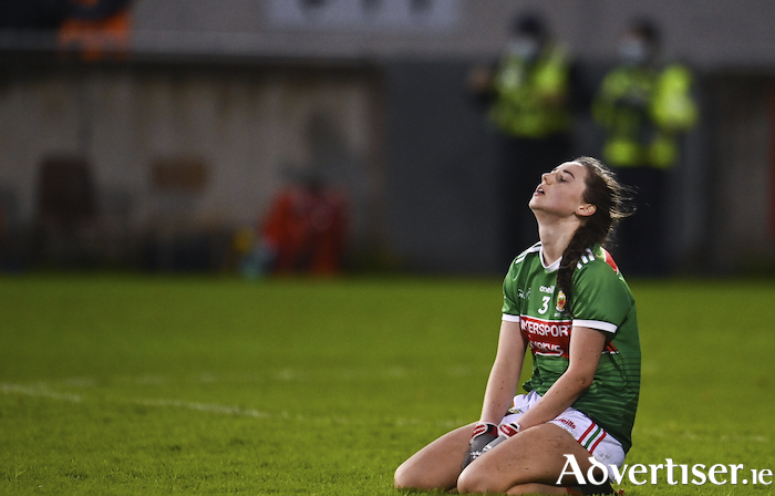 Down and out:  A dejected Roisín Durkin of Mayo following her sides defeat in the TG4 All-Ireland Senior Ladies Football Championship Round 3 match between Armagh and Mayo at Parnell Park in Dublin. Photo: Sam Barnes/Sportsfile