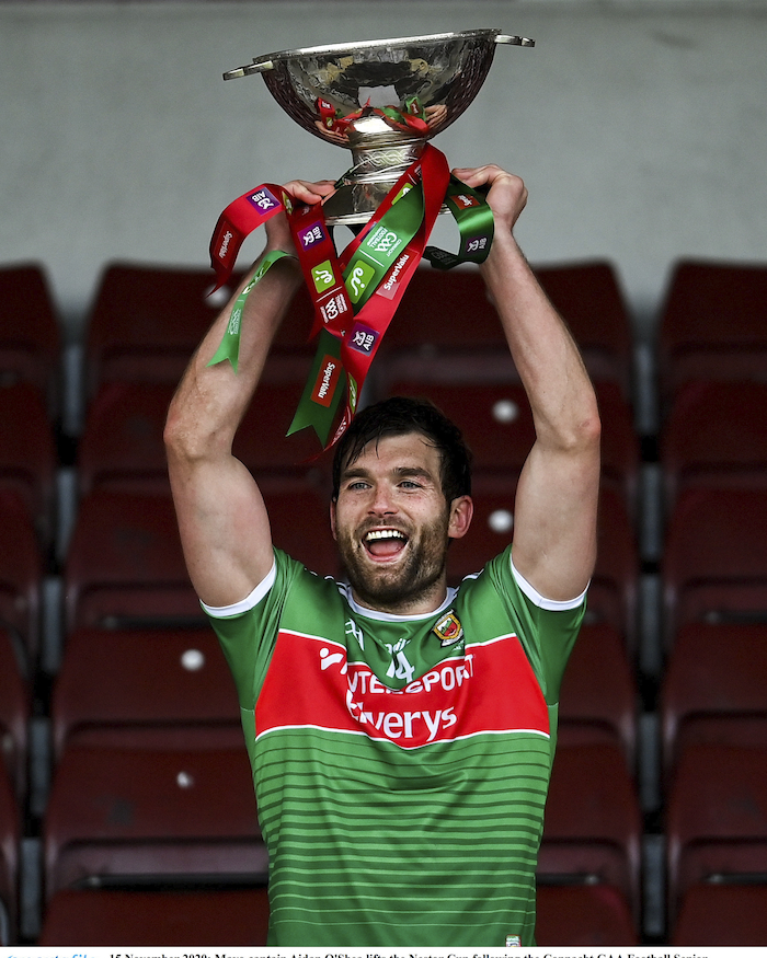 Cup of joy: Aidan O'Shea lifts the Nestor Cup after the game. Photo: Sportsfile