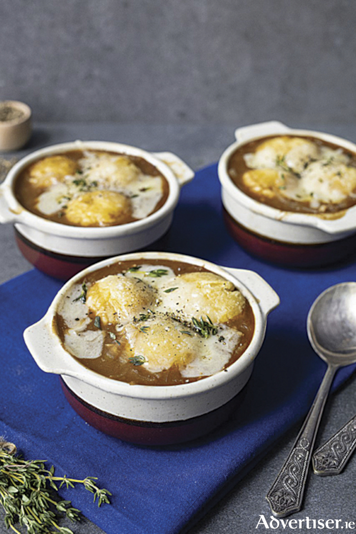 French onion soup with cheese dumplings