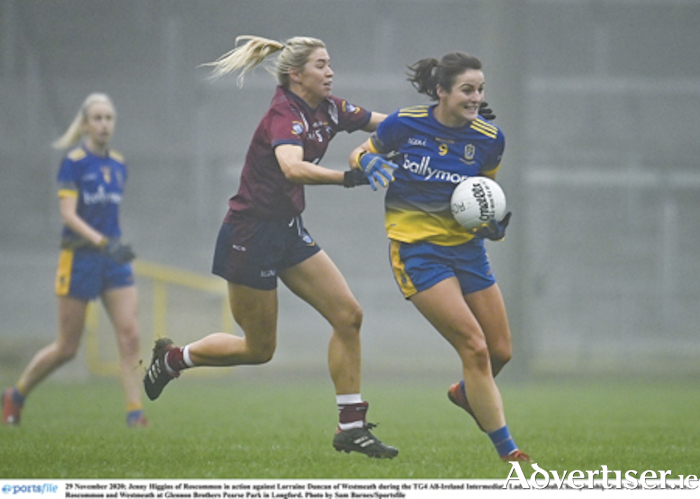 Garrycastle and Westmeath footballer, Lorraine Duncan, closes down Roscommon player, Jenny Higgins, during the All-Ireland intermediate semi-final on Sunday.  Photo by Sam Barnes/Sportsfile