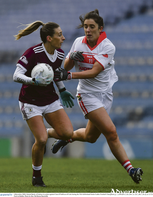 Sinead Burke of Galway in action against Ciara O'Sullivan of Cork during the TG4 All-Ireland Senior Ladies Football Championship semi-final at Croke Park in Dublin. Photo by Ray McManus/Sportsfile