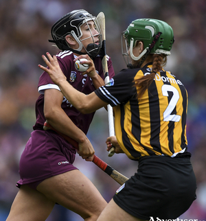 Niamh Kilkenny of Galway in action against Collette Dormer of Kilkenny during last year;s Liberty Insurance All-Ireland Senior Camogie Championship final at Croke Park in Dublin. Photo by Piaras  Mcdheach/Sportsfile