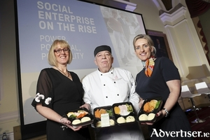 Meals4Health Social Enterprise of the Year award winners pictured before Covid-19 restrictions, from left: Sharon Fitzpatrick, co-founder; chef John Kelly; and co-founder Geraldine Ryan.