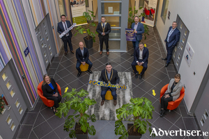 Pictured at the launch of the Galway Chamber Business Awards were (front from left to right) Flortia Dolly, tax director PwC; Mayor Mike Cubbard; Noreen Conway, acting manager, Galway Technology Centre; (middle row, left to right) John Brennan, CEO WestBic; Paraic Waters, tax partner EY; (back, left to right) Kenny Deery, CEO Galway Chamber; JP Gilmartin, president, Galway Chamber; 